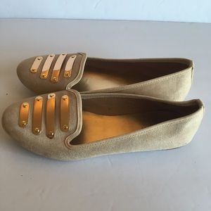 Shoes - Nine West faux suede gold detail loafers
